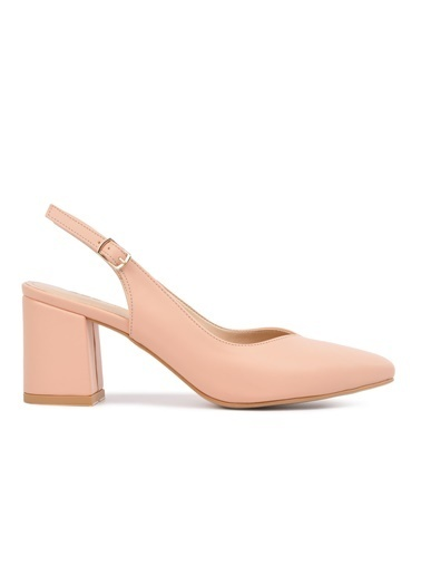 Esstii 304 Vizon Süet Kadın Topuklu Ayakkabı Pudra